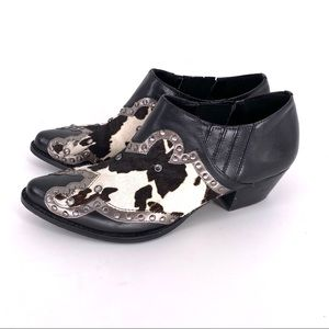 REBA Embroidered Leather Calf/Cow Ankle Boots Sz 6